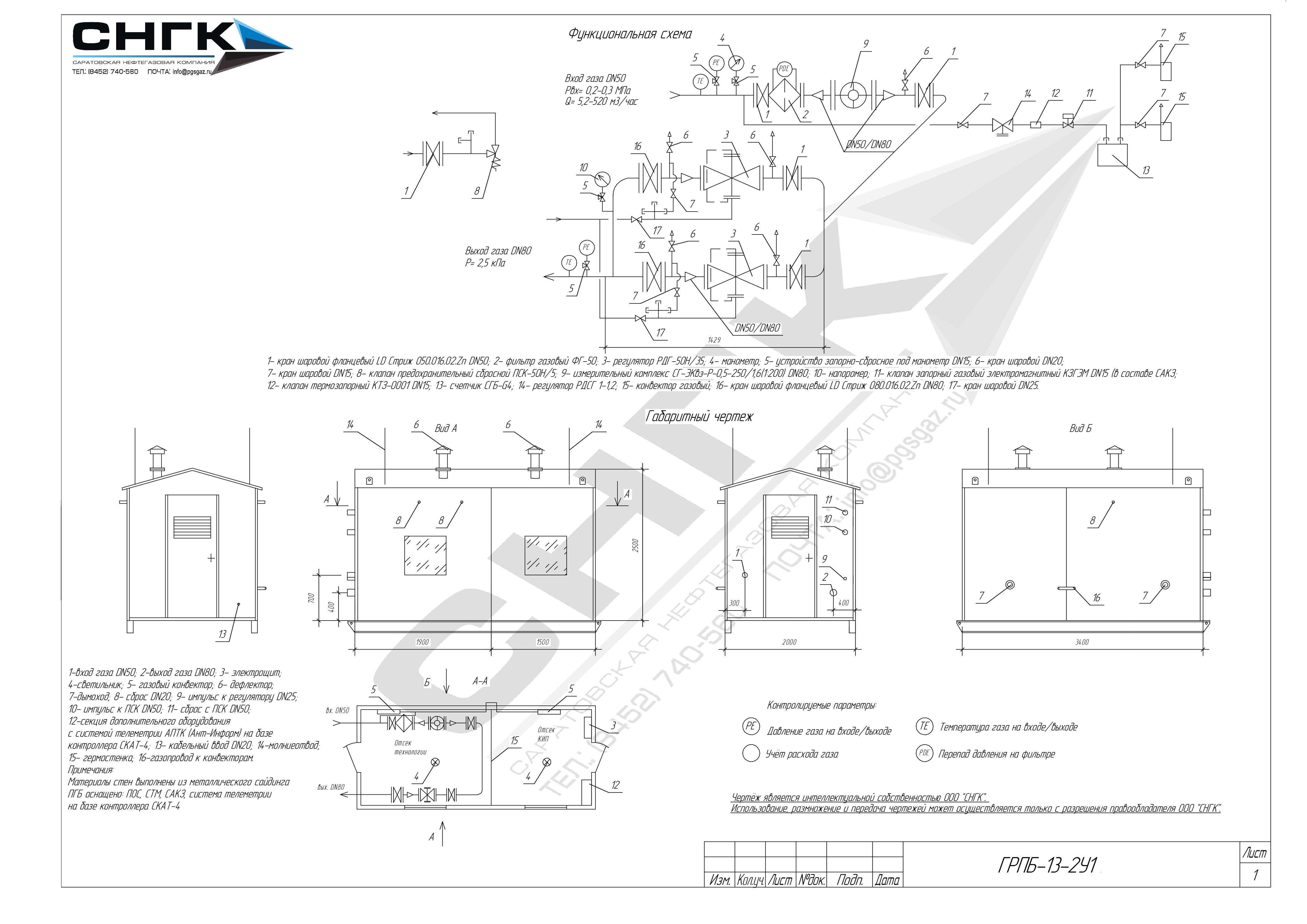 Пункты газорегуляторные блочные ПГБ-13-2Н-У1, ПГБ-13-2В-У1, ШЗР(Б)