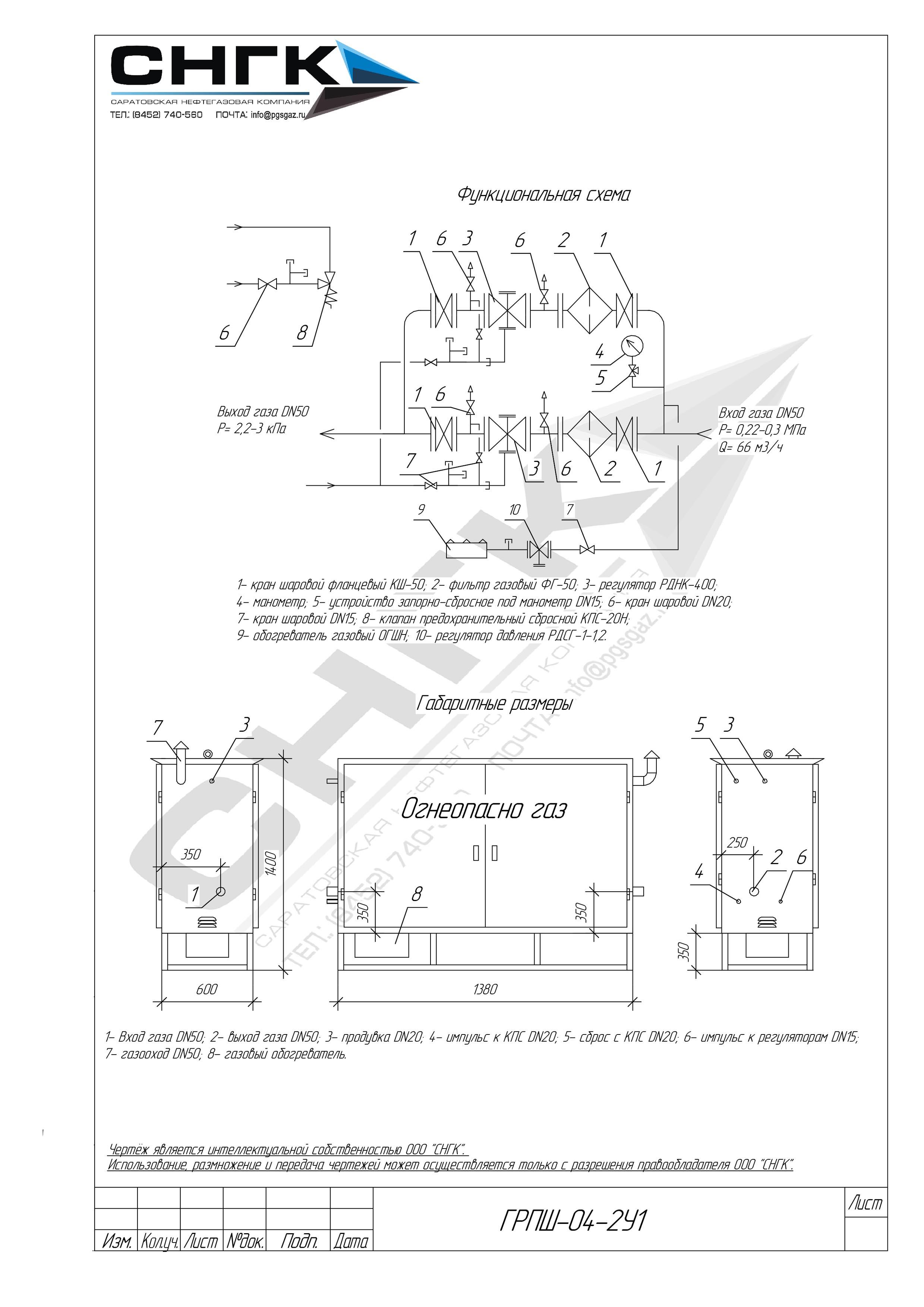 Газорегуляторные пункты шкафные ГРПШ-04-2У1, ГРПШ-07-2У1, ШЗР